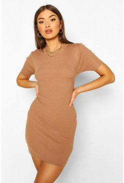 Rib Knit Short Sleeve Dress, Camel