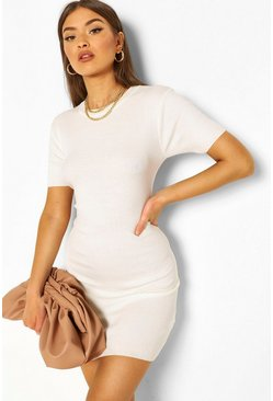 Rib Knit Short Sleeve Dress, Cream