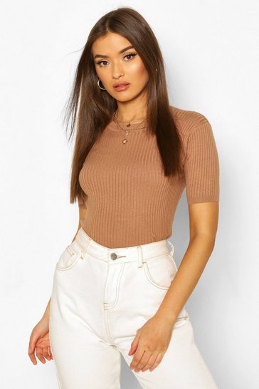 Camel Rib Knit Crew Neck Short Sleeve Knitted Top