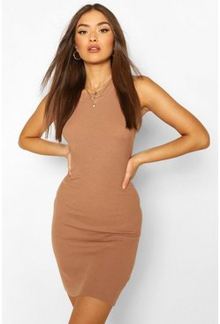 Rib Knit High Neck Sleeveless Racer Mini Dress, Camel