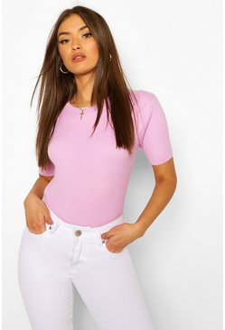 Lilac Rib Knit Crew Neck Short Sleeve Top