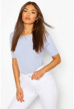 Rib Knit Crew Neck Short Sleeve Top, Sky