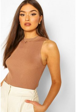 Camel Rib Knit Turtle Neck Sleeveless Rib Knit Top