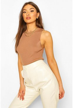 Rib Knit Crew Neck Racer Top, Camel