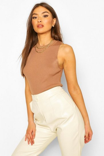 Camel Rib Knit Crew Neck Racer Top