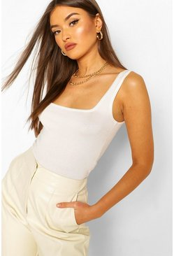 Cream Soft Knit Scoop Neck Crop Top