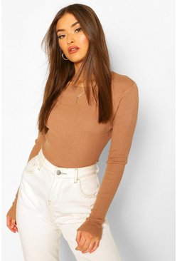 Rib Knit Crew Neck Long Sleeve Top, Camel