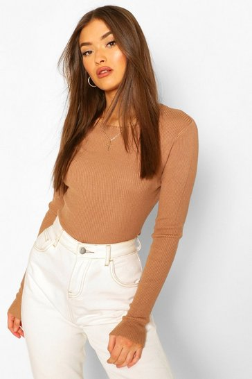 Camel Rib Knit Crew Neck Long Sleeve Top