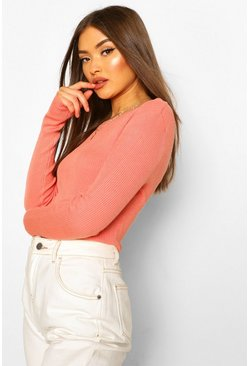 Salmon Rib Knit Crew Neck Long Sleeve Top