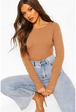 Rib Knit Long Sleeve Knitted Bodysuit, Toffee