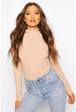 Soft Rib Knit Long Sleeve Bodysuit, Camel