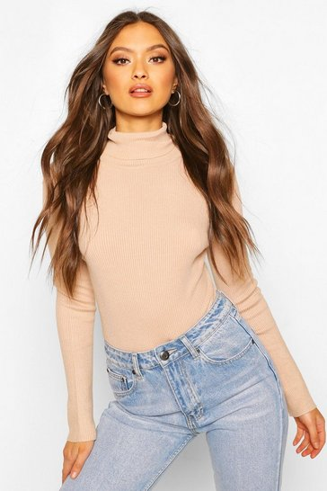 Camel Soft Rib Knit Long Sleeve Bodysuit