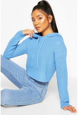 Blue Knitted Hooded Cropped Sweater