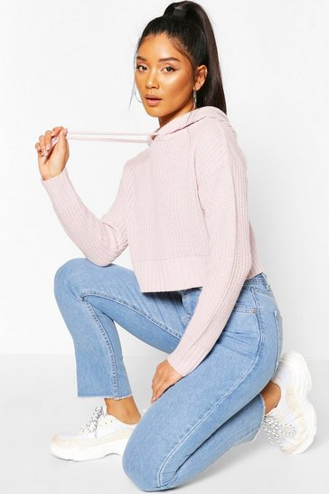 Lilac Knitted Hooded Cropped Jumper