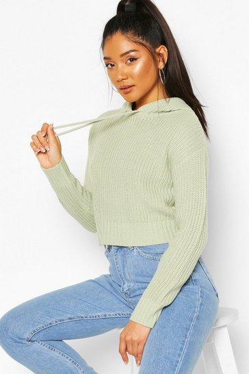 Sage Knitted Hooded Cropped Jumper