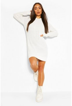 Cream Hooded Knitted Cropped Dress