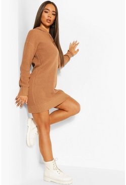 Hooded Knitted Cropped Dress, Toffee
