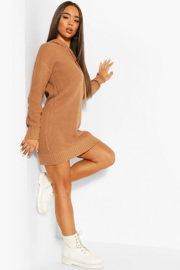Toffee Hooded Knitted Cropped Dress