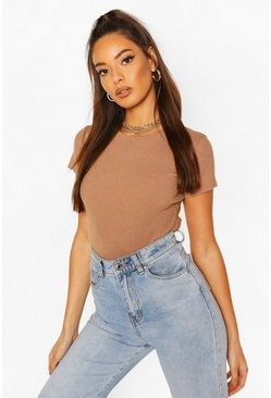 Rib Knit Crew Neck Short Sleeve Knitted Bodysuit, Camel
