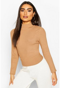 Camel Rib Knit Turtle Neck Top