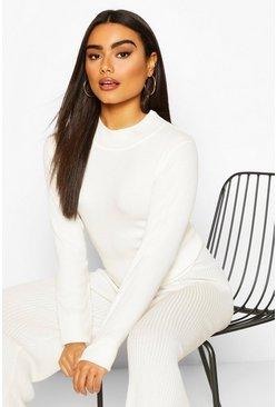 Rib Knit Turtle Neck Top, Cream