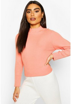 Salmon Rib Knit Turtle Neck Top