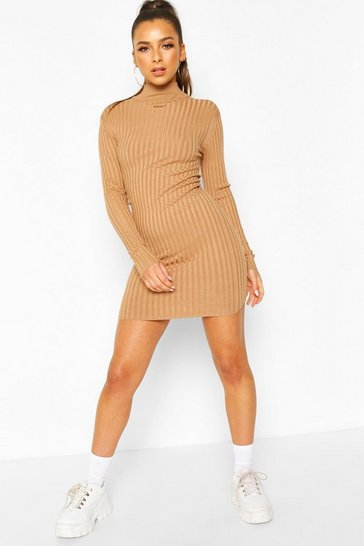 Camel Rib Knit Turtle Neck Knitted Dress