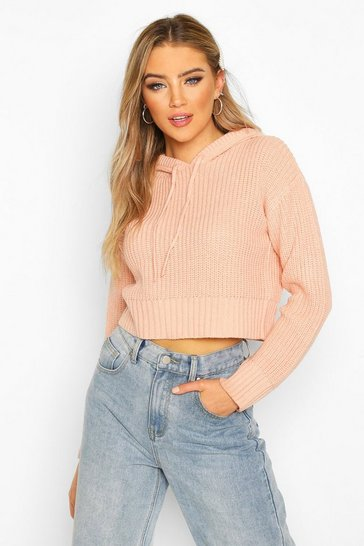 Blush Knitted Hooded Cropped Jumper