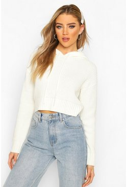 Cream Knitted Hooded Cropped Jumper
