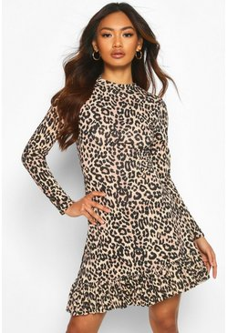 Stone Leopard Turtle Neck Long Sleeve Frill Hem Shift Dress
