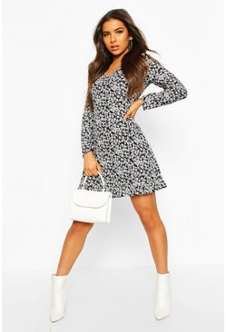 Ditsy Floral Long Sleeve Frill Hem Shift Dress, Black