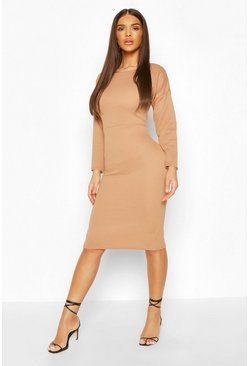 Camel Heavy Bonded Rib Midi Dress