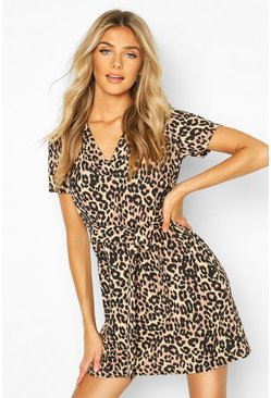 Leopard Print V Neck Belted Shift Dress, Black