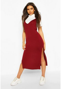 Womens Berry Roll Neck Layered T-shirt Midi Slip Dress