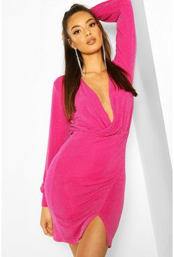 Pink Glitter Wrap Detail Bodycon Mini Dress