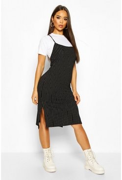 Black Pinstripe T-shirt Layered Midi Slip Dress