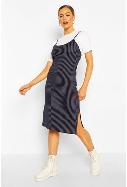 Navy Pinstripe T-shirt Layered Midi Slip Dress