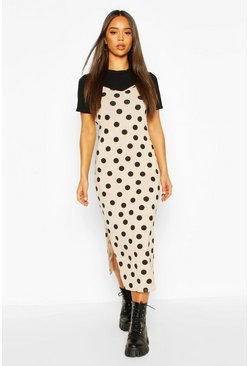 Polka Dot T-shirt Layered Slip Dress, Stone
