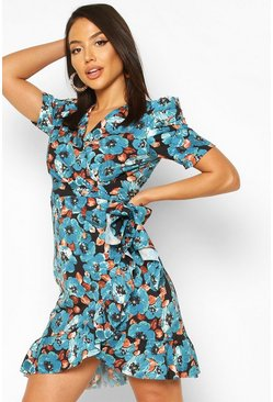 Floral Puff Ruched Sleeve Ruffle Tea Dress, Blue, MUJER