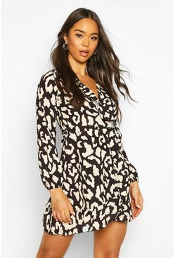 Womens Black Large Leopard Print Ruffle Tea Dress