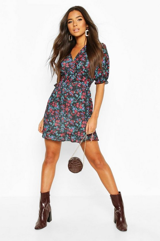 Floral Print Ruffle Hem Tea Dress