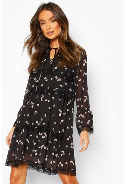 Black Floral Lace Trim Smock Dress