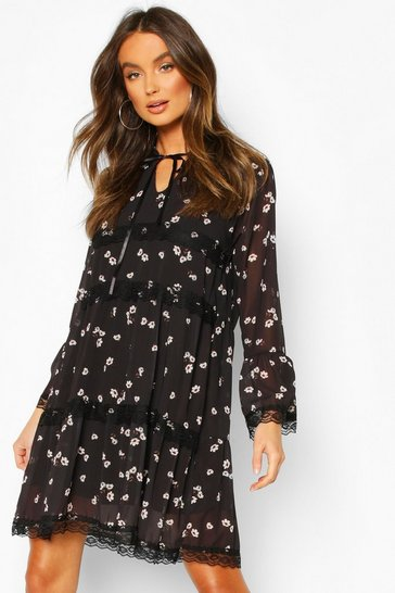 Womens Black Floral Lace Trim Smock Dress