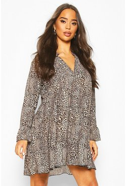 Womens Leopard Print Tiered Ruffle Smock Dress
