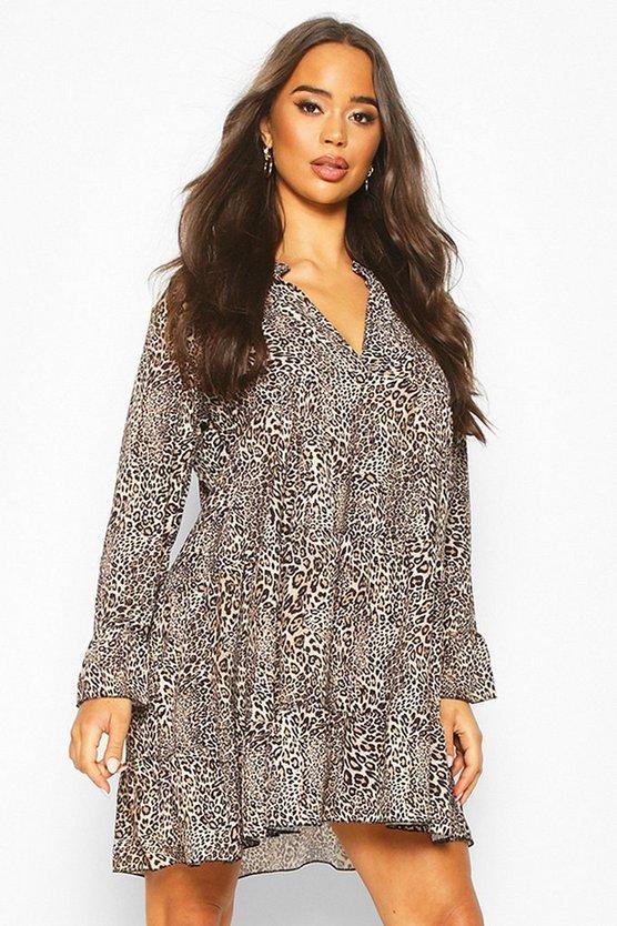 Leopard Print Tiered Ruffle Smock Dress