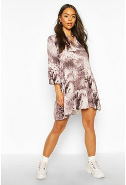 Womens Grey Tie Dye Marble Print Smock Dress