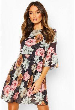Chiffon Large Floral Print Smock Dress, Black