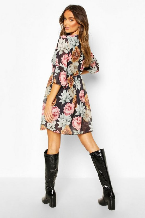 Chiffon Large Floral Print Smock Dress