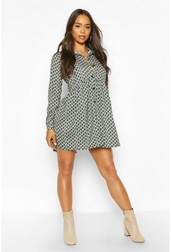 Womens Green Geo Print Oversized Shirt Smock Dress