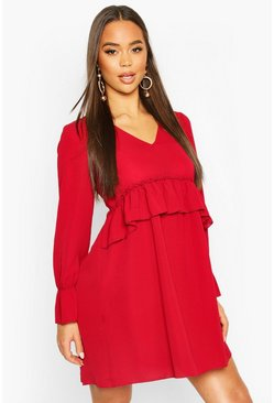 Womens Berry Woven Ruffle Waist Oversized Smock Dress